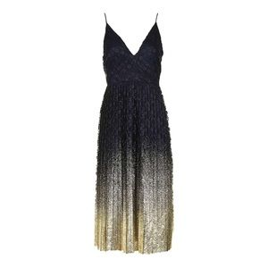 black/gold foil dress